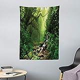 ABAKUHAUS Regenwald Wandteppich & Tagesdecke, Spring in Nepal Footpath, aus Weiches Mikrofaser Stoff Wand Dekoration Für Schlafzimmer, 110 x 150 cm, Grün Braun