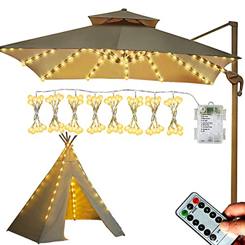 Homeleo Patio Umbrella Light, Battery Operated LED Globe Ball Outdoor String Lights with Remote for Patio Beach Umbrella Teepee Awning Camping Tents Christmas Tree Decor(8x10 LEDs,Soft Warm Lighting)