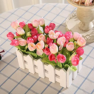 Luyue DIY Wooden Fence Artificial Silk Flowers Arrangement Fake Rose in Picket Fence Pot Pack