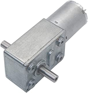 12-24V 6mm Dual Output Shafts low speed 6rpm Self-lock Large Torque DC Worm Gear Motor JGY370-D Double Axis Worm Geared Motors (12V-10RPM)