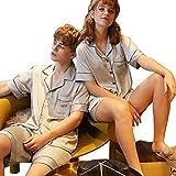 Silk Pyjamas Frauen Frühling Und Herbst Neuer Absatz Hülsen-Männer Silk Zweiteilige Hausmantel Paar-Sets (Color : Ladies C, Size : M)