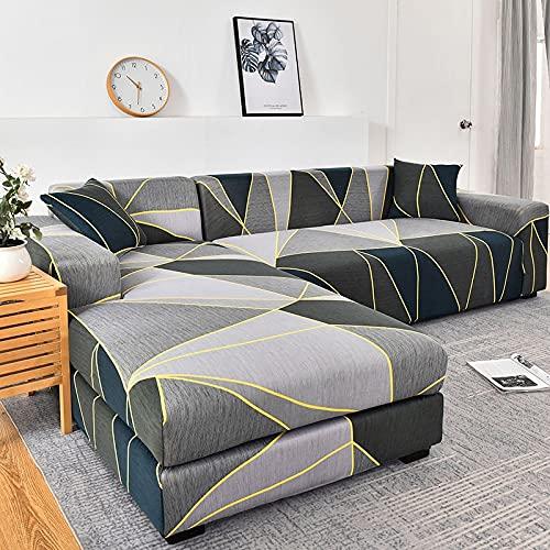 WXQY Funda de sofá de Esquina con patrón de Lino, Utilizada para la Funda de sofá de la Sala de Estar, sofá elástico con Todo Incluido, sillón Chaise Longue A27 de 3 plazas