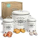 Yukii® Juego de recipientes de almacenamiento con ventilación única y diseño de ranuras. Ideal para guardar cebollas, patatas y ajos.