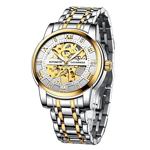 Herren Uhren Automatikuhr Mechanische Skelett Glasboden Römische Zahlen Diamant Zifferblatt Wasserdicht Schwarz Männer Armbanduhr mit Edelstahl Armband