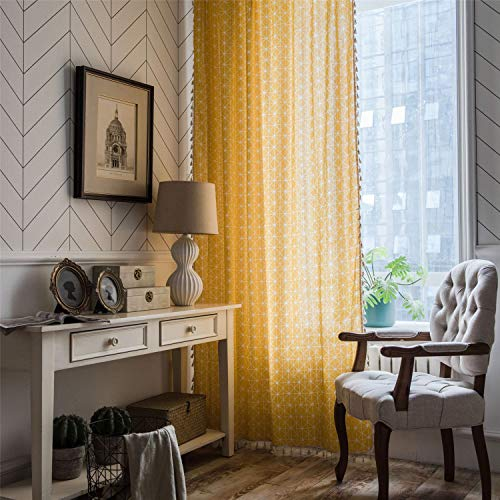 """ABREEZE Bohemian Cotton Linen Window Curtains, Semi Blackout Farmhouse Boho Style Drapes Rod Pocket Window Curtain Panel with Tassels for Living Room (Yellow,55"""" W x 63"""" L)"""