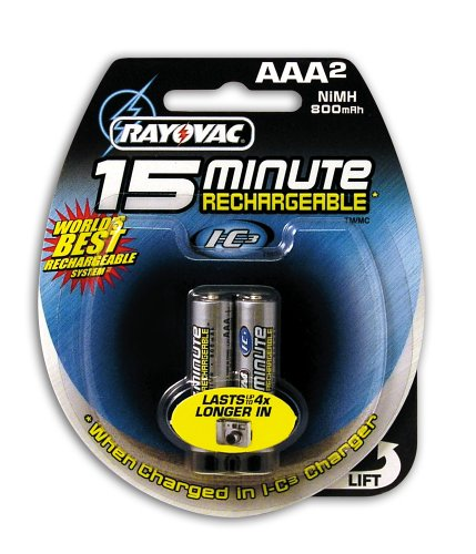 Rayovac I-C3 15 Minute NiMH AAA Size Carded 2 Pack