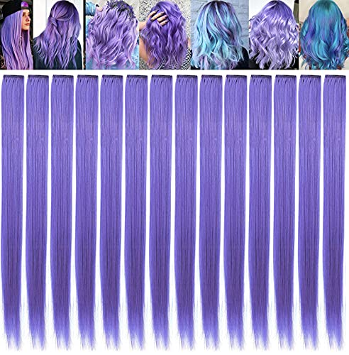 ECOCHARMS 21'' 14PCS Princess Party Highlight Lavender Hair Pieces Colored Hair Extensions Clip in/On for America Girls and Kids/ TeensWig Pieces for Dolls(Lavender)