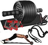 Abdominales Casa Gimnasio Musculacion, 1 Rodillo de Rueda Abdominales AB Wheel Roller, 2 Soportes para Flexiones + 2...