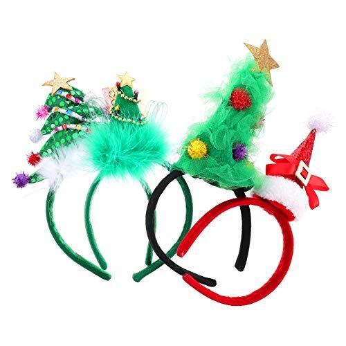 FRCOLOR 4 Piezas Diadema de rbol de Navidad para Nios Festival de Aro de Pelo de Navidad Disfraz de Fiesta Sombreros de Temporada para Nios Cosplay Tocado