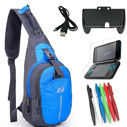 eLUUGIE 5 in 1 Crossbody Bag+Comfort Hand Grip with Stand for NEW Nintendo 2DS XL+New 2DS XL Screen Protector+2DS USB Charging Cable +Stylus Pen For New 2DS XL Travel Accessory New 2ds XL Travel Bag