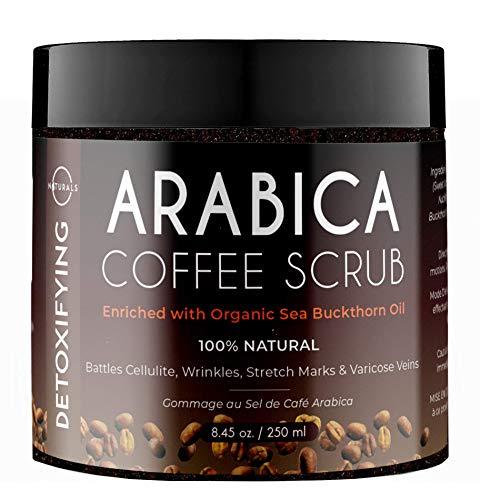 O Naturals Anti-Celulitis Exfoliante Café Orgánico Arábica Para el Cuerpo y Pies con Sal del Mar Muerto. Trata el Acné, Eczema, Estrías, Arrugas y Varices. Aumenta la Circulación. Mujer Hombre 250 gr