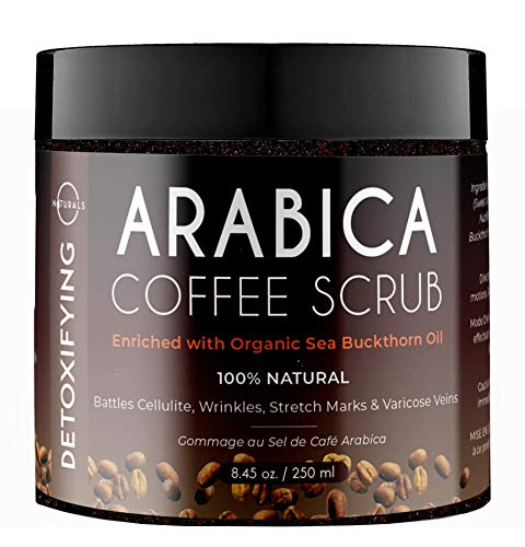 O Naturals Anti-Cellulite Exfoliating Organic Coffee Arabica, Dead Sea Salt Scrub. For Face Body & Legs. Best Acne, Eczema Stretch Marks Wrinkles & Varicose Veins Treatment. Boosts Circulation. 8.45oz