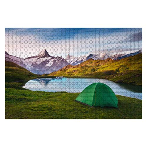 Wooden Puzzle 1000 Pieces Alpine Valley Glowing by Sunlight Location Place bachalpsee in Swiss Jigsaw Puzzles for Children or Adults Educational Toys Decompression Game