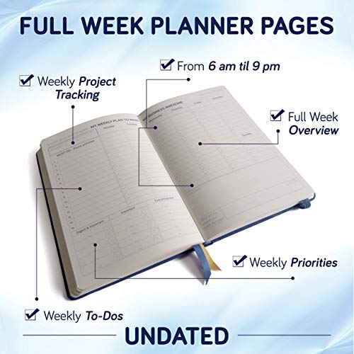 Product Image 2: Business Planner Undated for Entrepreneurs! Focus Project Notebook for Productivity! Best Daily Weekly Self Organizer Planner / Win the Day! Beat Procrastination! Ifocus – A5 work planner