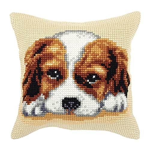 Orchidea Cross Stitch Dog Cushion Kit de cojín de Punto de Cruz, diseño, Perro 1, 40 x 40 cm