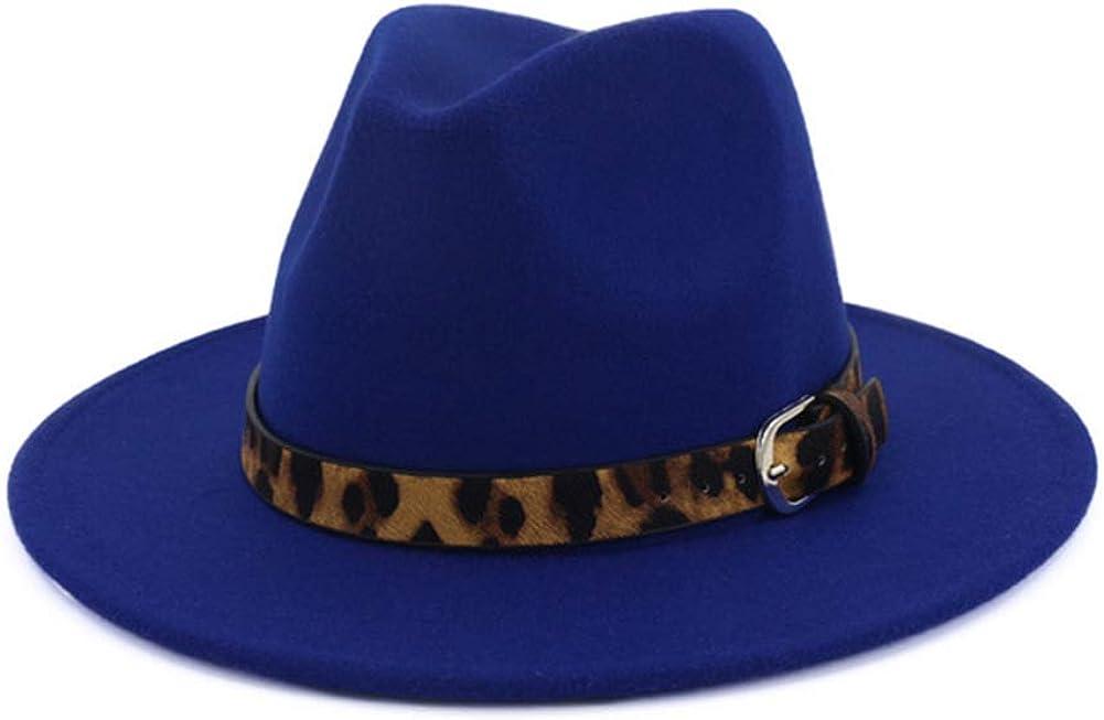 F FADVES Fedora Hat Leopard Belt Buckle Wide Brim Trilby Church Hats for Men Women