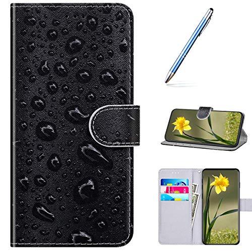 Kompatibel mit Huawei Enjoy 10S Handyhülle Leder Handytasche,Flip Case mit Bunt Muster Schutzhülle Brieftasche Magnet Kartenfächer Lederhülle Kratzfest Tasche Bookstyle Klapphülle,Wasserkugel