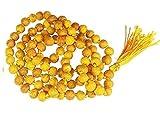 Soddisfacente Nazione Giallo Legno Curcuma Haldi Mala Baglamukhi Mala 108+1 Giappone Perline per Uomini e Donne Curcuma Rosario Mala