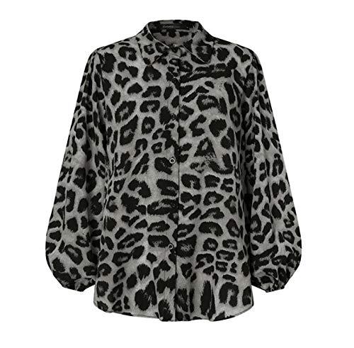 Blusas De Las Mujeres Camisa De Otoño Linterna Larga Solapa Cuello De Solapa Oficina Elegante Tops De Las Señoras (Color : Gray, Size : L.)