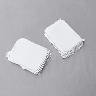 4.875 inch x 3.5 inch (4-Bar) 210gsm, Ivory Handmade Cotton Deckle Edge Papers