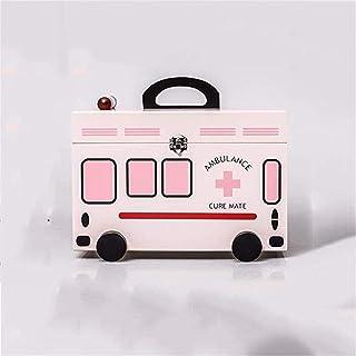 AINIYF Household Medicine Box Medicine Storage Box Portable First Aid Box Wooden Double Medical Box Medicine Box (Color : Pink)