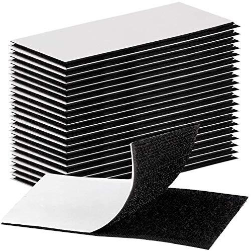 Magic House 超強力 面ファスナーテープ オスメスセット 4cm×10cm 20枚 両面テープ付 強粘着裏糊付 DIY用 業務用 家庭用 工業用 黒