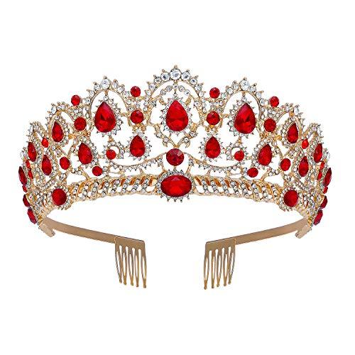 SweeTV Corona barroca para mujer, diadema de princesa tiara con peines de estrás Accesorios de disfraces para bodas, bailes de graduación, fiesta de día de fiesta