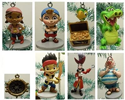 """Jake and the Neverland Pirates Set of 8 Holiday Christmas Tree Ornaments with Pirate Compass Ornament, Jake, Izzy, Cubby, Skully, Captain Hook, Smee, and Tick-Tock Croc - Ornament Figures Range from 3"""" to 4"""" Tall"""