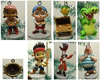 Jake and the Neverland Pirates Set of 8 Holiday Christmas Tree Ornaments with Pirate Compass Ornament, Jake, Izzy, Cubby, Skully, Captain Hook, Smee, and Tick-Tock Croc - Ornament Figures Range from 3