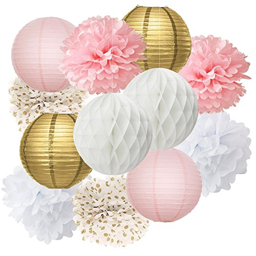 Bachelorette Party Decorations 12pcs Pink Gold Party Decoration Tissue Paper Pom Pom Honeycomb Ball and Paper Lantern for Girls' Birthday Decoration Pink Baby Shower Decorations Wedding Party Favors