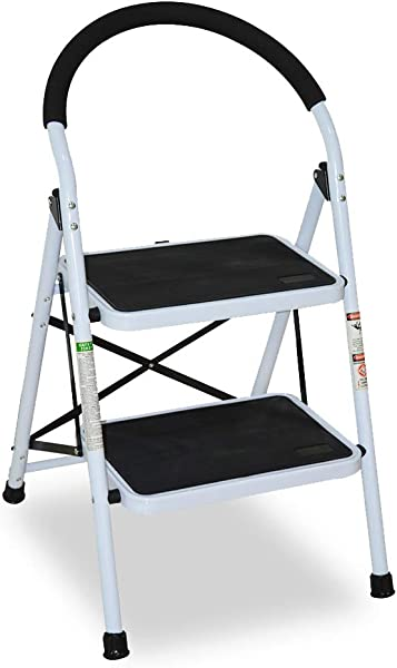 2 Step Ladder CQXING Portable Lightweight Folding 2 Steel Step Ladder With Wide Anti Slip Platform Sturdy HD Construction 330lbs Capacity