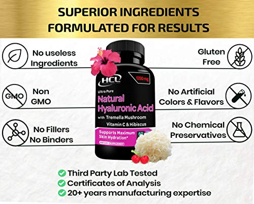 51GAOoqaWuL. SL500  - Natural Hyaluronic Acid Supplement 5X Stronger Hydration Pills from Pure Tremella Mushroom with Vitamin C & Hibiscus - Anti-Aging Skin Supplement Anti Wrinkle Capsules
