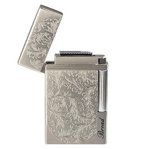 Piioket Broad BD313 Carved Arabesques Flint Wheel Butane Gas Cigarette Cigar Lighter - Silver