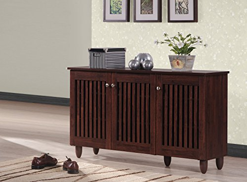 Baxton Studio Wholesale Interiors Fernanda Modern and Contemporary 3-Door Oak Brown Wooden Entryway Shoes Storage Wide Cabinet