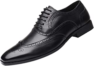 Inlefen Men Leather Shoes Retro Business Dress Shoes Rubber Sole Leather Shoes