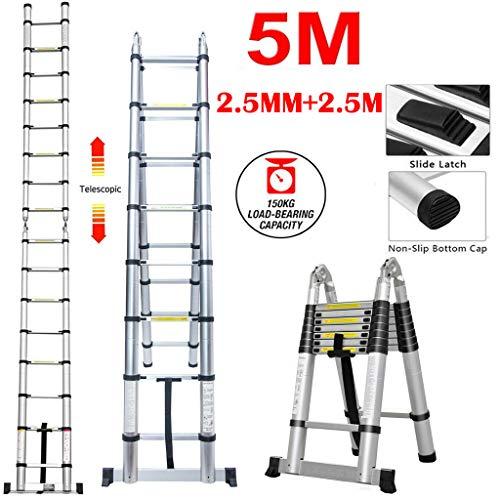 Rutschfester 5M Alu Leiter Teleskopleiter Klappleiter Ausziehbare Teleskop-Design Stehleiter Mehrzweckleiter 150 kg Belastbarkeit (5M/2.5M+2.5M)