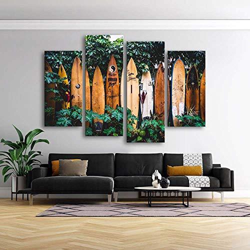 GSDFSD Art Enlienzo Póster Tablas de Surf Surfer Beach Naturaleza Paisaje 5 Piezas Pared Mural para Decoracion Cuadros Modernos Salon Dormitorio Comedor Cuadro Impresión Piezasmaterial