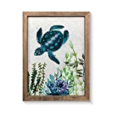 Natural Sea Turtle Wall Art Decor Green Seascape Canvas Print Art on Rice Paper Framed Artwork for Bathroom Living Room Wall Decoration Ready to Hang 12x16'