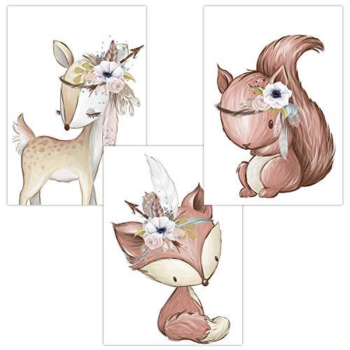 Wandbilder 3er Set für Babyzimmer Deko Poster | Kunstdruck DIN A4 | Dekoration Kinderzimmer Waldtiere (Reh Fuchs Eichhörnchen Boho)