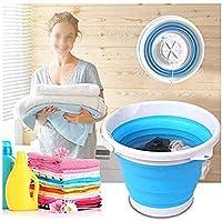 ミニ洗濯機ポータブル、超音波タービン洗濯機折りたたみ式浴槽付き USB 携帯用10L容量洗濯機一人暮らし出張旅行,Blue