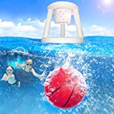 LONYKIBEE Pool Toys Dive Toys Inflatable Basketball Hoop Set and Filled with Water Ball Underwater Passing, Diving, Summer Party Games Gift for Teens, Kids, Adults