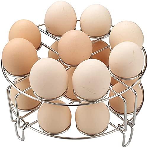 XinLuMing Vaporizador de Huevo apilable Cocinero Huevo 18, Estante de Huevo de Acero Inoxidable 304 Soporte Cesta Trivet de Acero Inoxidable al Vapor para Accesorios de cocción a presión Bastidor