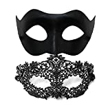 EXCLAIM BEAUTY Masquerade Mask for Couples - 2 Pack Venetian Mask - Perfect Masquerade Mask for Women (Double Sided) and Men - Party Prom Wedding Mardi Gras Mask Set