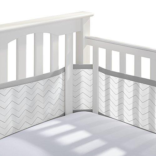 BreathableBaby Classic Breathable Mesh Crib Liner - Gray Chevron