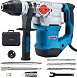 ENEACRO 1-1/4 Inch SDS-Plus 13 Amp Heavy Duty Rotary Hammer Drill, Safety Clutch 4 Functions with Vibration Control Including Grease, Chisels and Drill Bits with Case