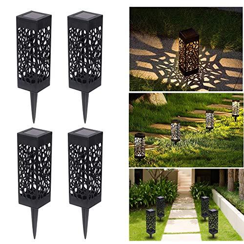Solarleuchten Garten Solarlampen für Außen, Solarlampe Wasserdicht und Automatische EIN/Aus, LED Solar Gartenleuchte Dekoration für Terrasse Rasen Garten Patio Hinterhöfe Wege, Warmweiße (4 Stück)