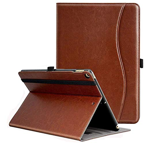 MOFRED iPad 10.5 Inch 2019 Case, Premium Leather Business Stand Folio Cover for New Apple Tablet with Auto Wake/Sleep and Document Card Slots, Multiple Viewing Angles,Brown
