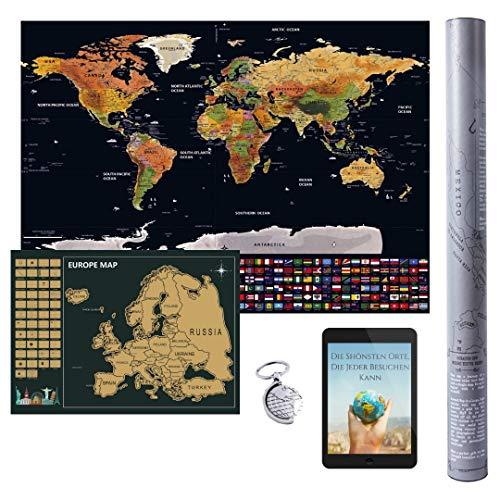 Weltkarte zum Rubbeln 82,5 × 59,5 cm Englisch & Rubbel Europakarte 46 × 33 cm World Scratch Map rubbel Karte Welt Landkarte inkl. Rubbel Chip, Schlüsselbund & Gratis E-Book (45 Seiten) Deutsch.