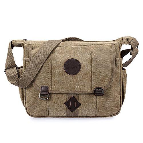 GSTEK Messenger Tasche Kuriertasche Umhängetasche Retro Stoff Leinen Lässige Umhängetasche Schultertasche Messenger Bag für Sport, Arbeit, Schule, Reisen - Khaki