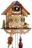 Eble - Orologio a cucù al quarzo, in vero legno, funzionamento a batteria, con carillon musicale, a forma di casetta, 24 cm